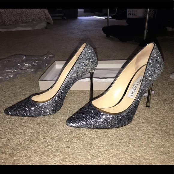 989299a8b97a8 Jimmy Choo Shoes   Romy 100 Navy Silver Glitter Pumps   Poshmark